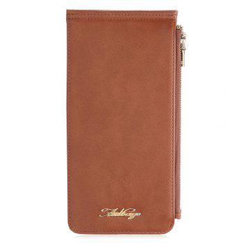 Faux Leather Zip Wallet - BROWN VERTICAL