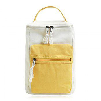 Colour Block Canvas Zippers Backpack - YELLOW YELLOW