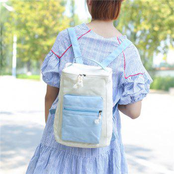 Colour Block Canvas Zippers Backpack -  BLUE
