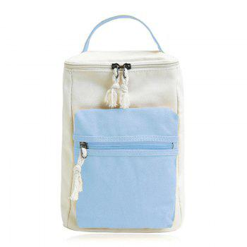 Colour Block Canvas Zippers Backpack - BLUE BLUE