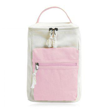 Colour Block Canvas Zippers Backpack - PINK PINK