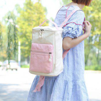 Colour Block Canvas Zippers Backpack -  PINK