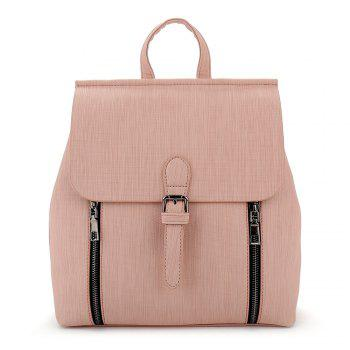 Double Zippers Buckle Strap Backpack - PINK PINK