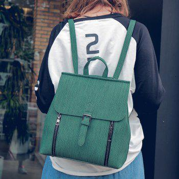 Double Zippers Buckle Strap Backpack -  GREEN