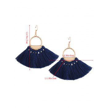 Vintage Circle Tassel Fish Hook Earrings - Bleu
