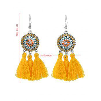 Bohemian Round Floral Tassel Hook Earrings - YELLOW