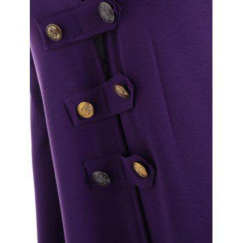 Lace-up Plus Size Hooded High Low Coat - PURPLE 5XL