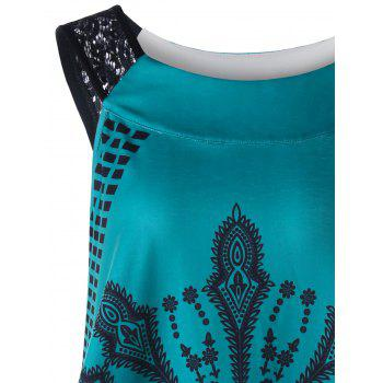 Lace Insert Tribal Print Asymmetrical Tank Top - LAKE BLUE 2XL