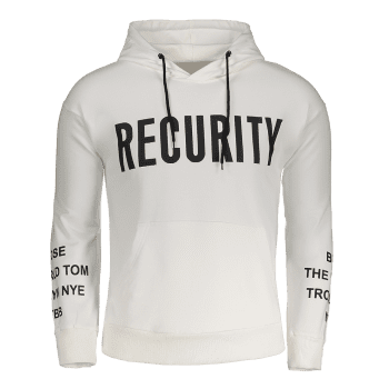 Recurity Graphic Front Pocket Mens Hoodie - WHITE WHITE