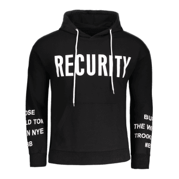 Recurity Graphic Front Pocket Mens Hoodie - BLACK M