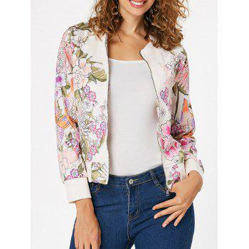 Zip Up Printed Long Sleeve Jacket - OFF-WHITE OFF WHITE