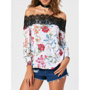 Eyelash Lace Trim Off The Shoulder Blouse - Blanc L