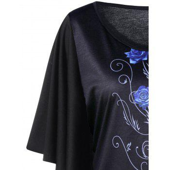Plus Size Tiny Floral Drape Sleeve T-shirt - BLUE XL
