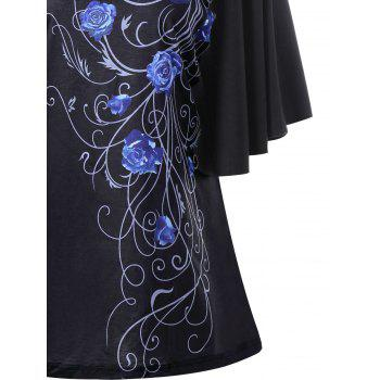 Plus Size Tiny Floral Drape Sleeve T-shirt - BLUE 5XL