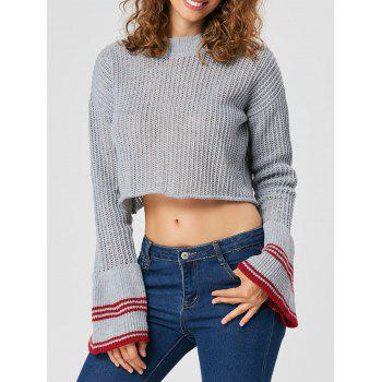 Flare Sleeve Crop Sweater - SMOKY GRAY S