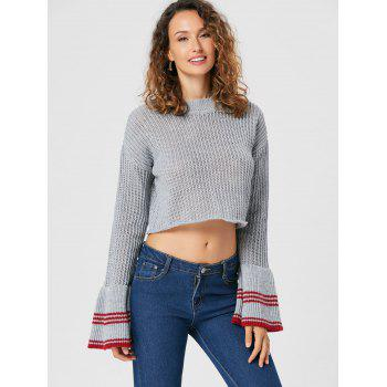 Flare Sleeve Crop Sweater - S S