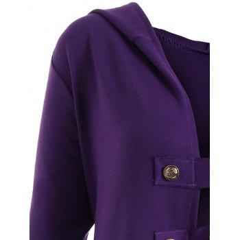 Lace-up Plus Size Hooded High Low Coat - PURPLE XL