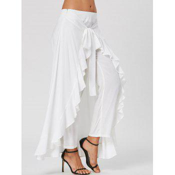 Tie Front Ruffle Flowy Skirted Pants - WHITE 2XL
