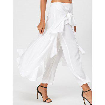 Tie Front Ruffle Flowy Skirted Pants - WHITE M