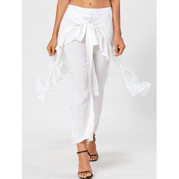 Tie Front Ruffle Flowy Skirted Pants - WHITE L