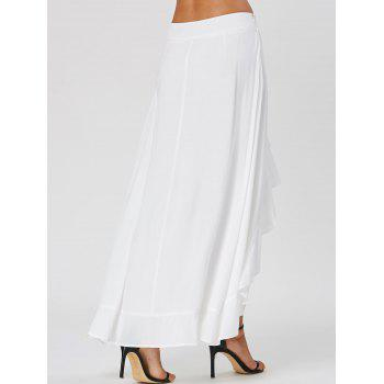Tie Front Ruffle Flowy Skirted Pants - WHITE WHITE
