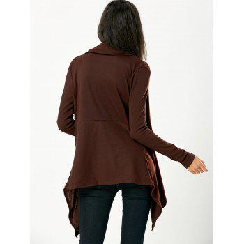 Chic Long Sleeve Turn-Down Neck Pure Color Women's Cardigan - BROWN XL