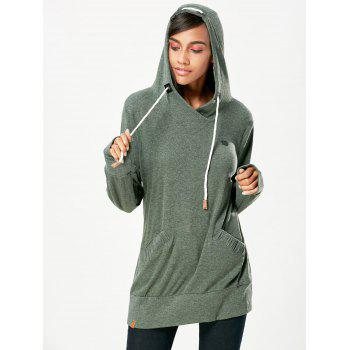 Stylish Hooded Long Sleeve Pocket Design Drawstring Women's Hoodie - GREYISH GREEN L
