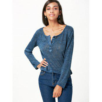 Pullover Long Sleeve Scoop Neck Solid Color Blouse For Women - BLUE GRAY XL