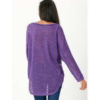 Pullover Long Sleeve Scoop Neck Solid Color Blouse For Women - PURPLE XL
