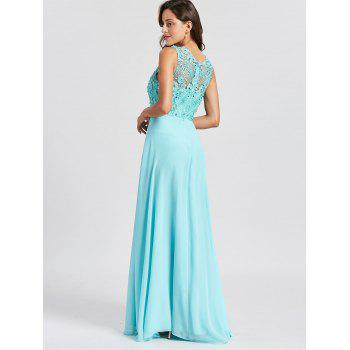 Rhinestone Embellished Floral Lace Keyhole Evening Dress - LAKE BLUE LAKE BLUE