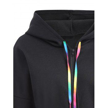 Plus Size Butterfly Zip Up Hooded Coat - BLACK 5XL