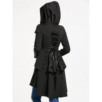 Layered Lace Up High Low Hooded Coat - BLACK 2XL