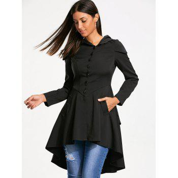 Layered Lace Up High Low Hooded Coat - BLACK L