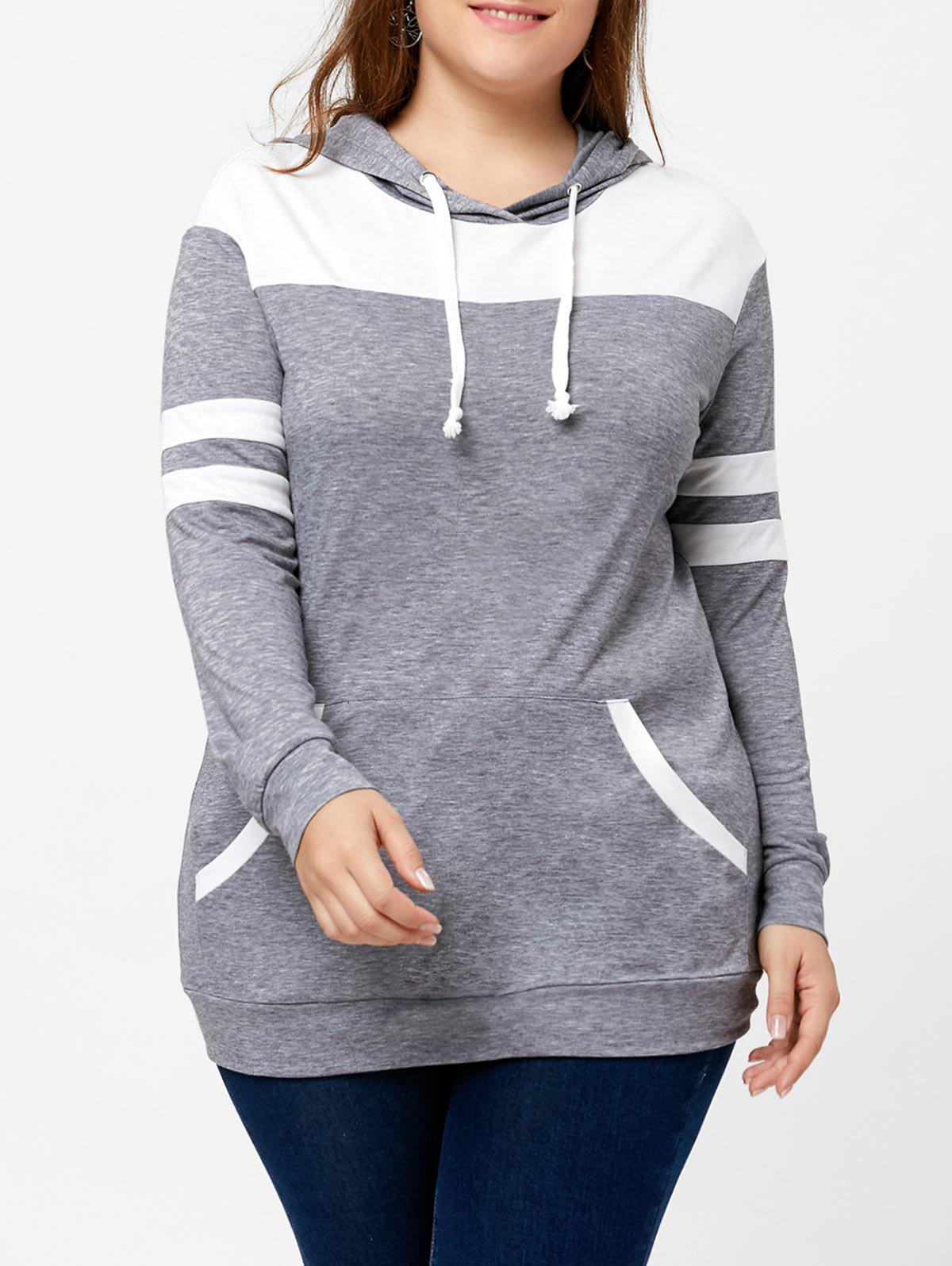 Plus Size Kangaroo Pocket Two Tone Pullover Hoodie plus size pocket two layered chiffon top