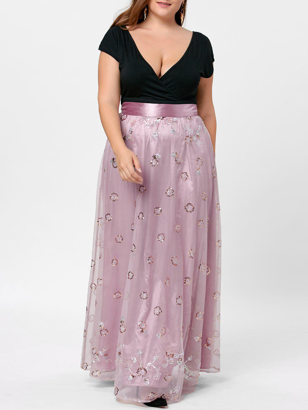 Plus Size Sequined Decorated Tulle Evening Dress - PALE PINKISH GREY 4XL