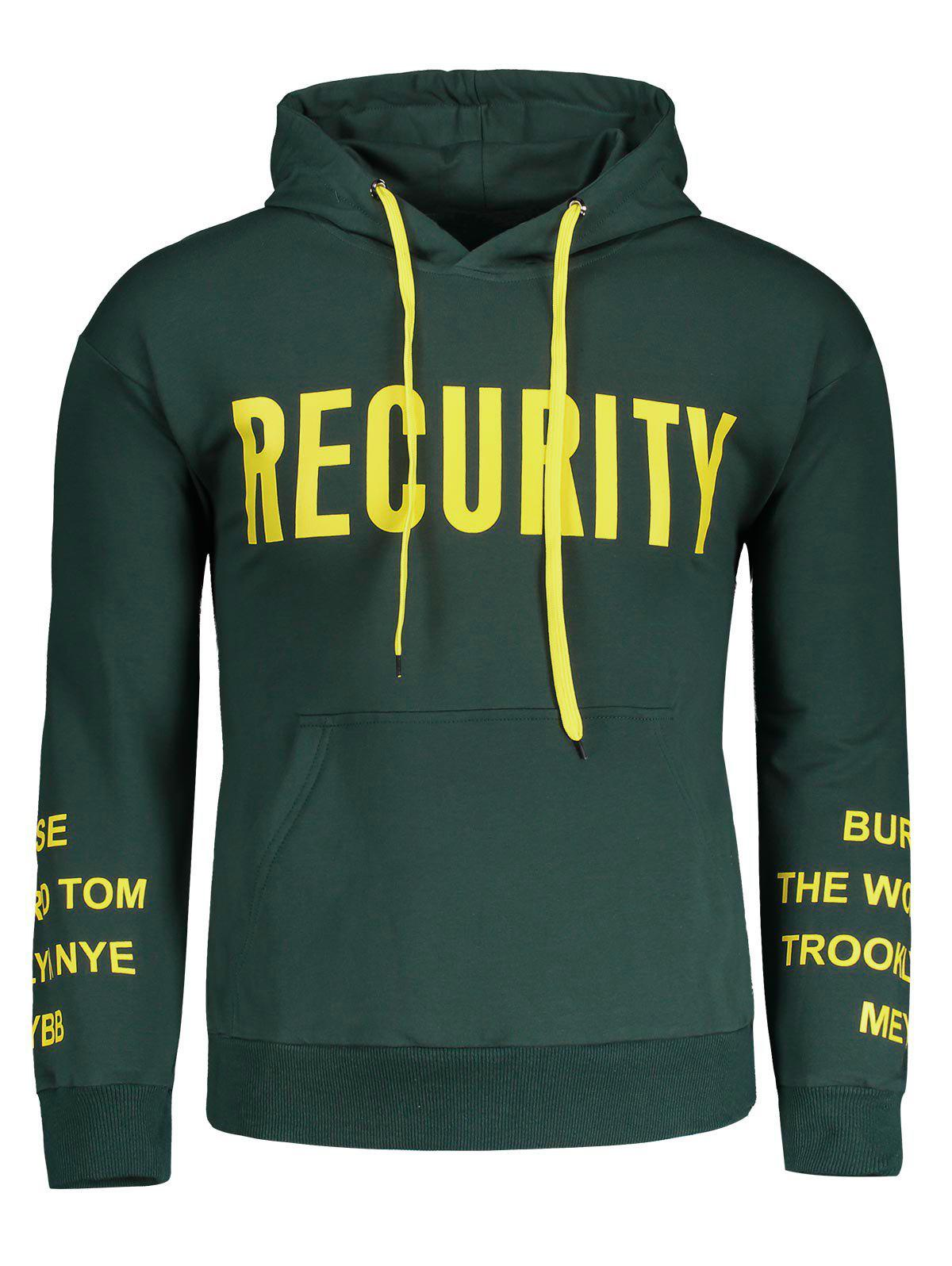 Recurity Graphic Front Pocket Mens Hoodie - GREEN M