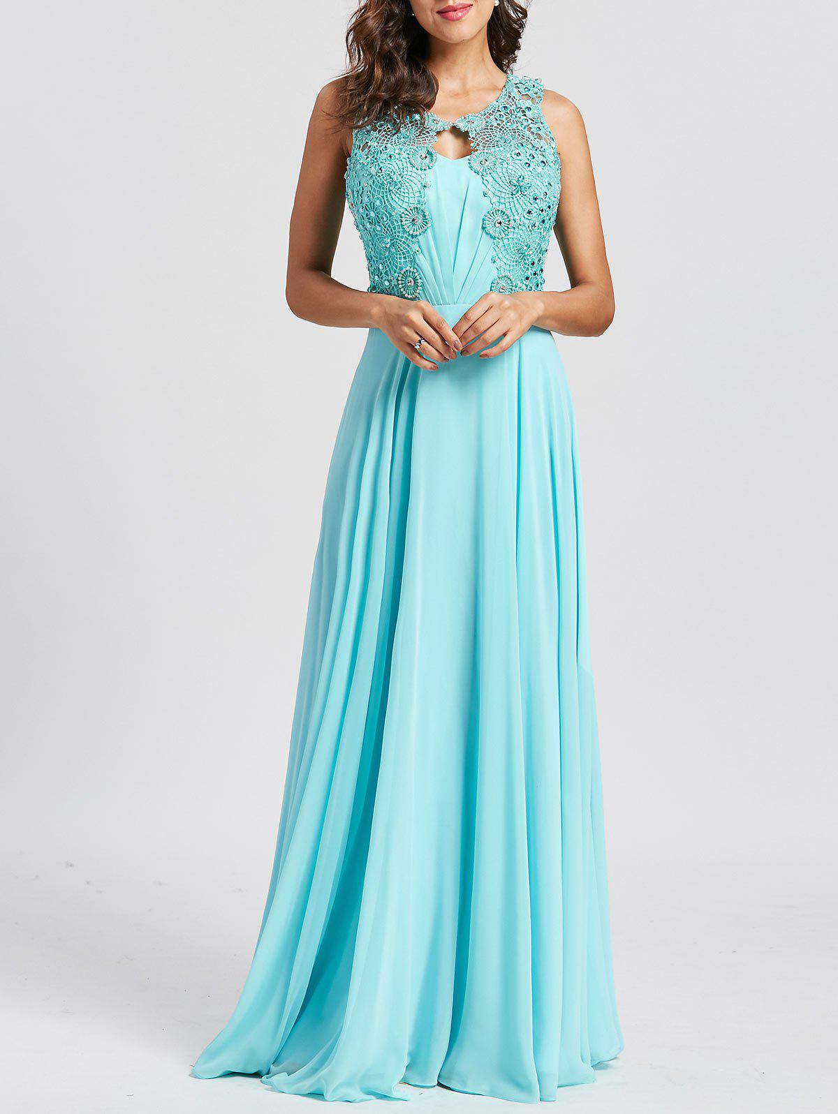 Rhinestone Embellished Floral Lace Keyhole Evening Dress - LAKE BLUE 2XL