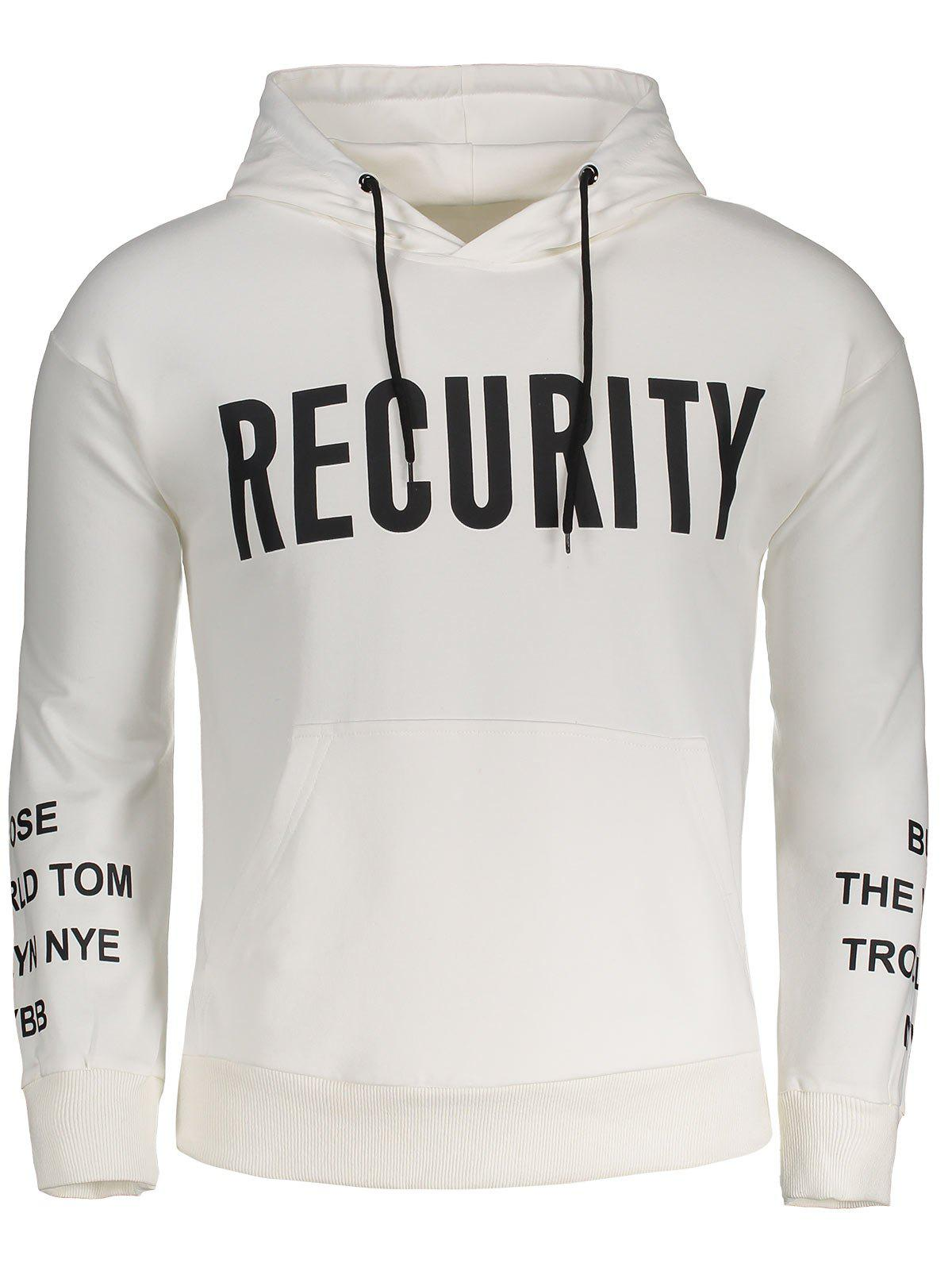 Recurity Graphic Front Pocket Mens Hoodie - WHITE M