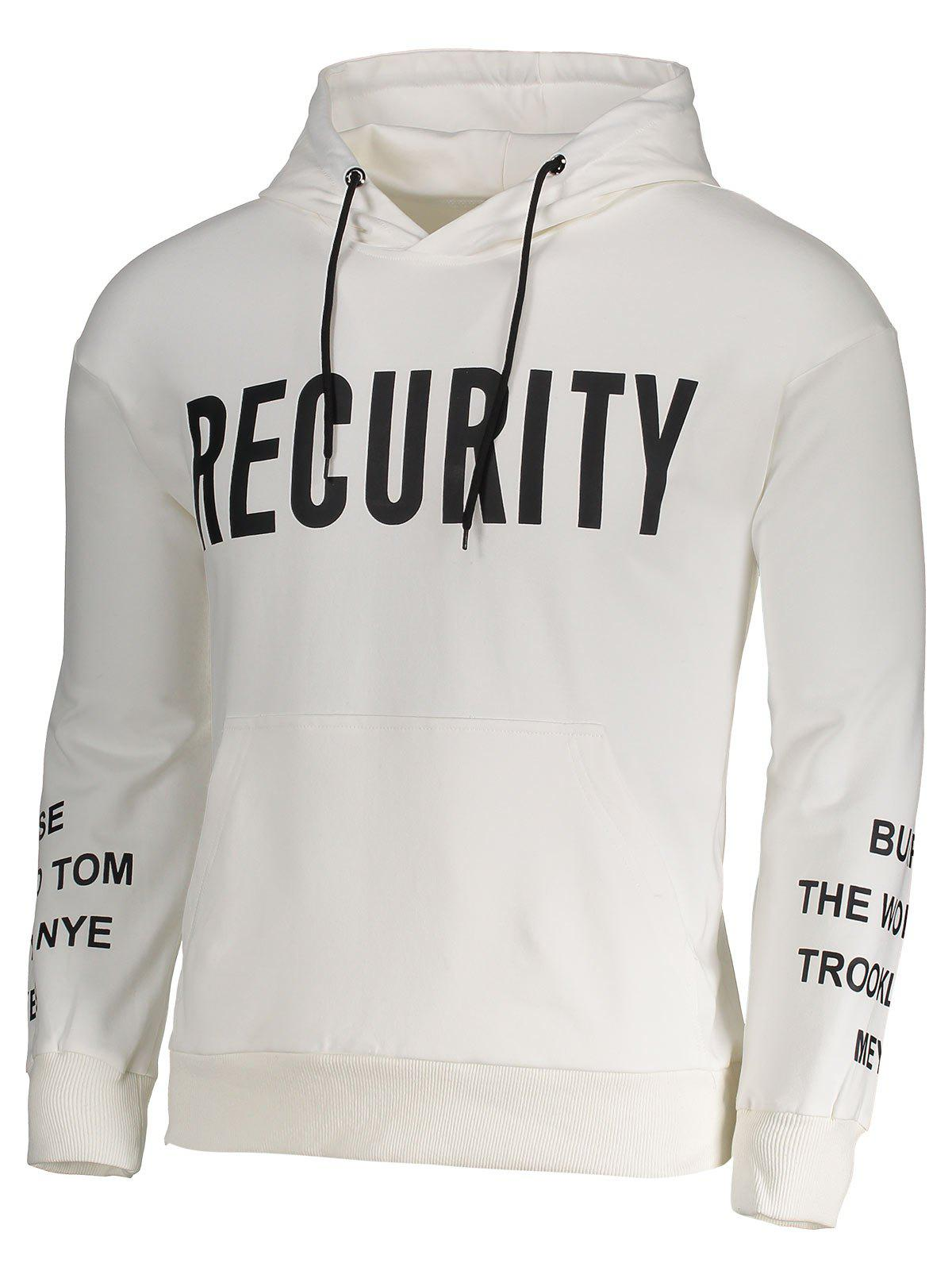 Recurity Graphic Front Pocket Mens Hoodie - WHITE L