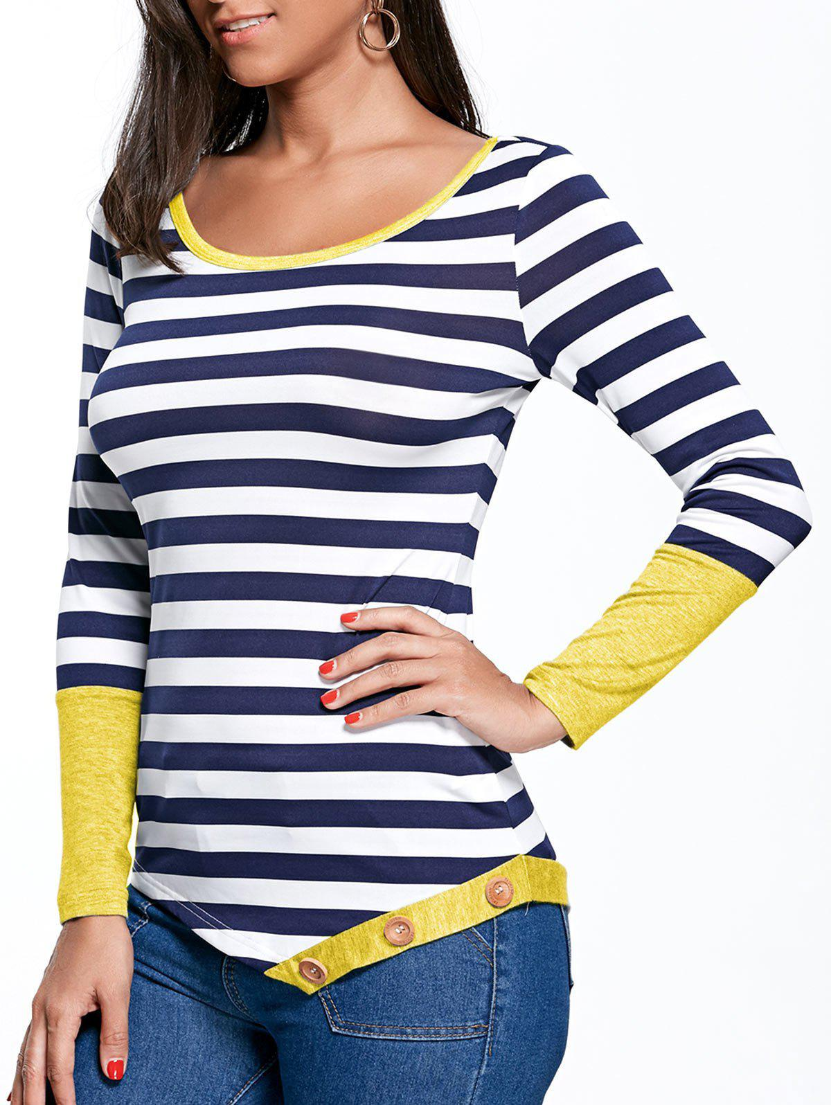 Striped Button Embellished Asymmetric Top striped button embellished flocking hoodie
