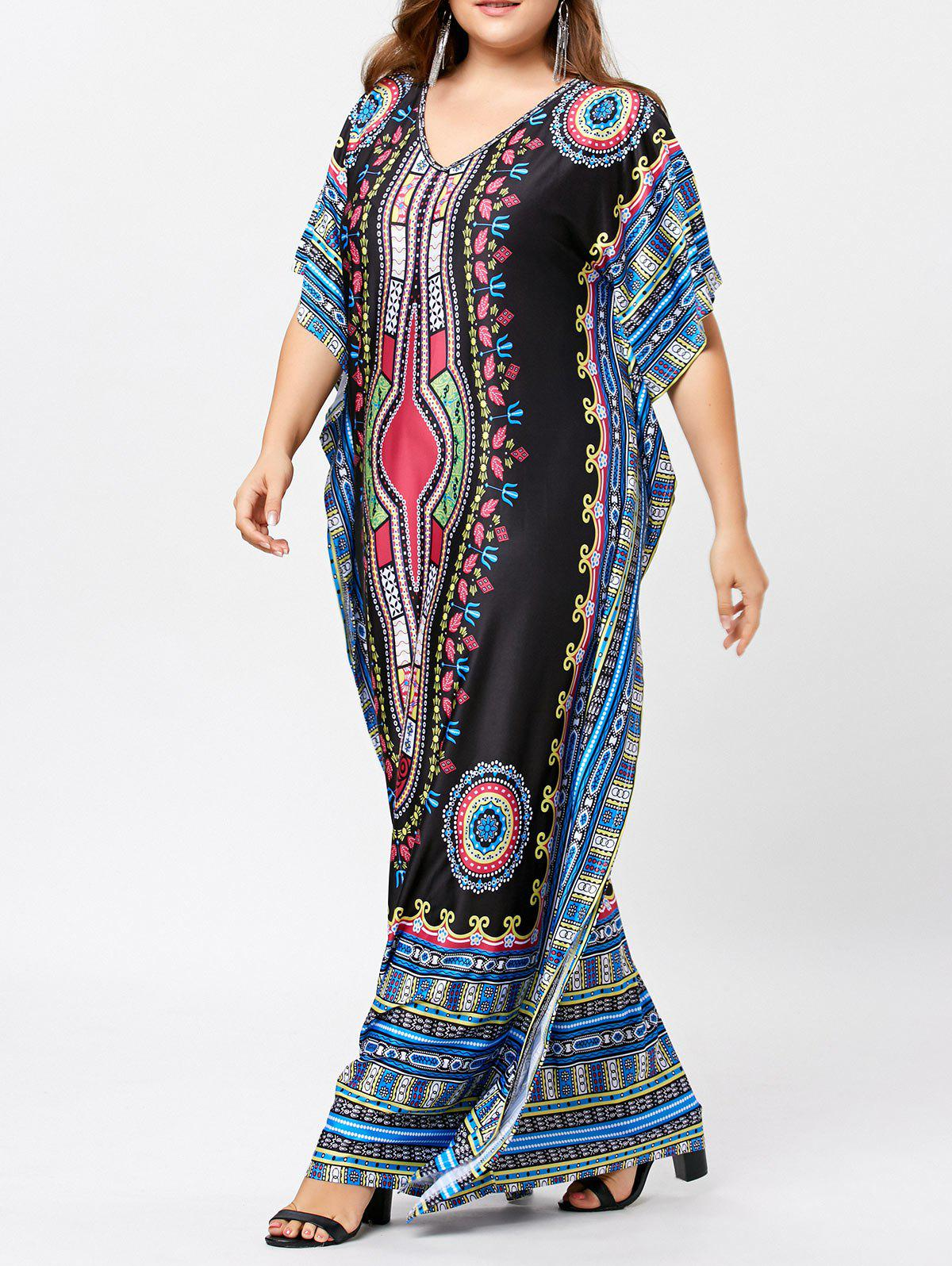 2018 plus size butterfly sleeve tribal print maxi dress colormix