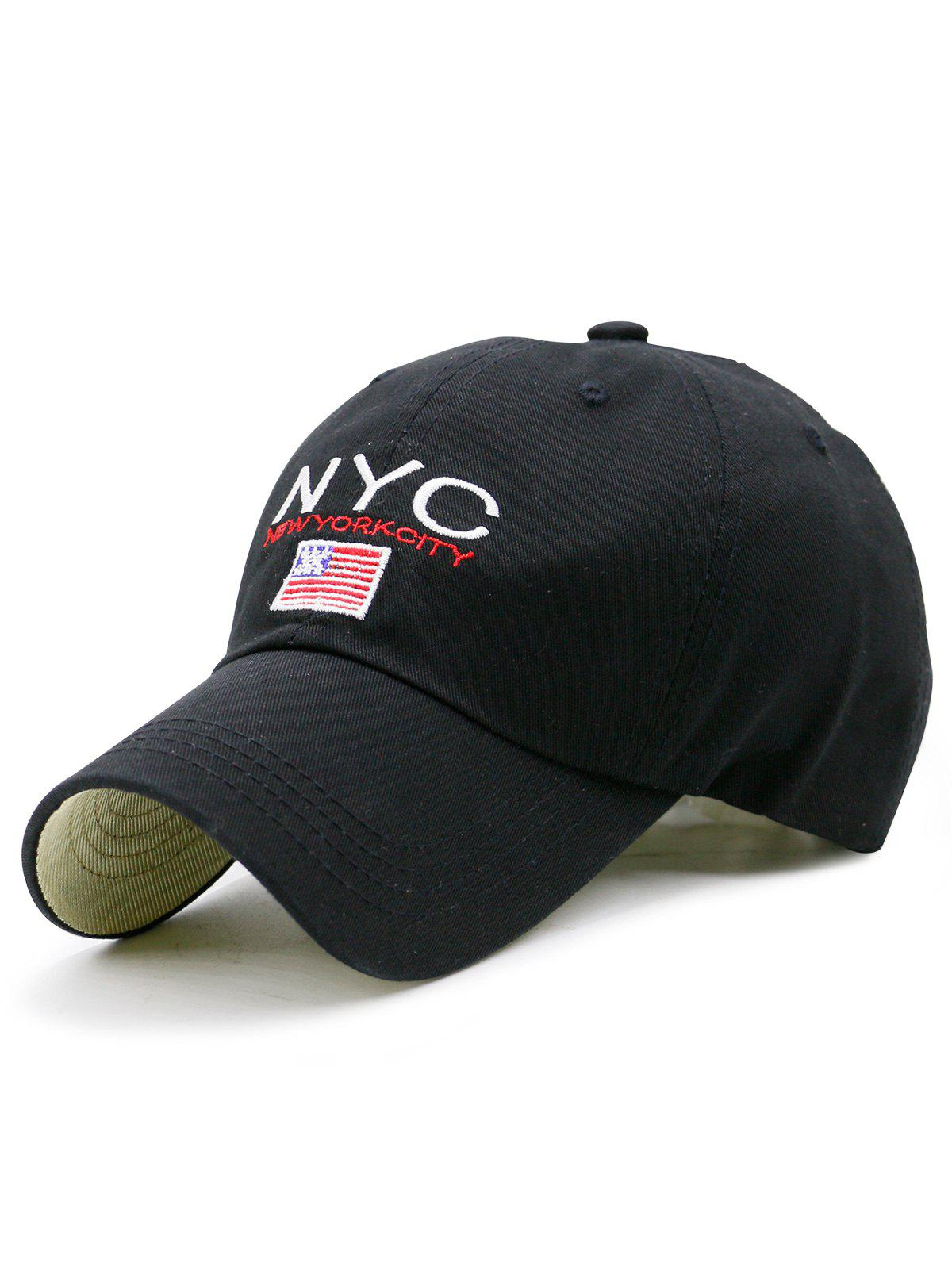 NYC and Flag Embroidered Baseball Hat - BLACK