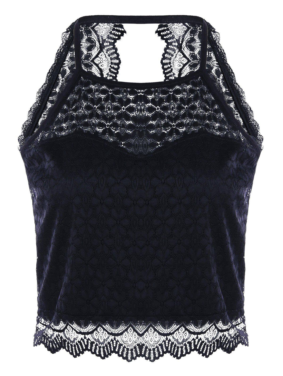 Open Back Lace Tank Top - BLACK M