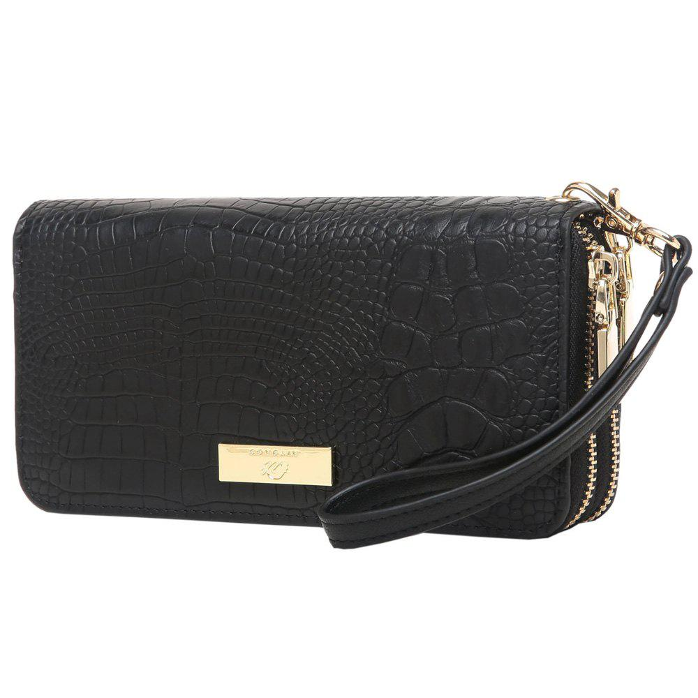Double Zippers Embossing Leather Wristlet Wallet - BLACK HORIZONTAL