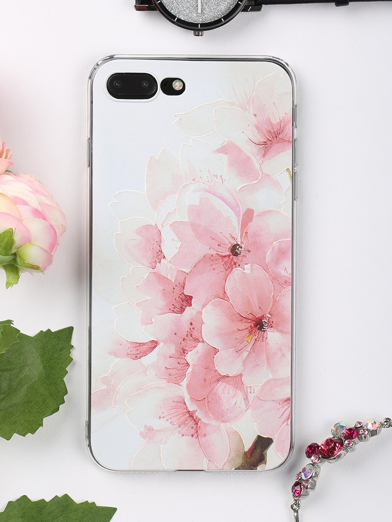 Peach Flowers Pattern Soft Phone Case For Iphone - LIGHT PINK FOR IPHONE 7 PLUS