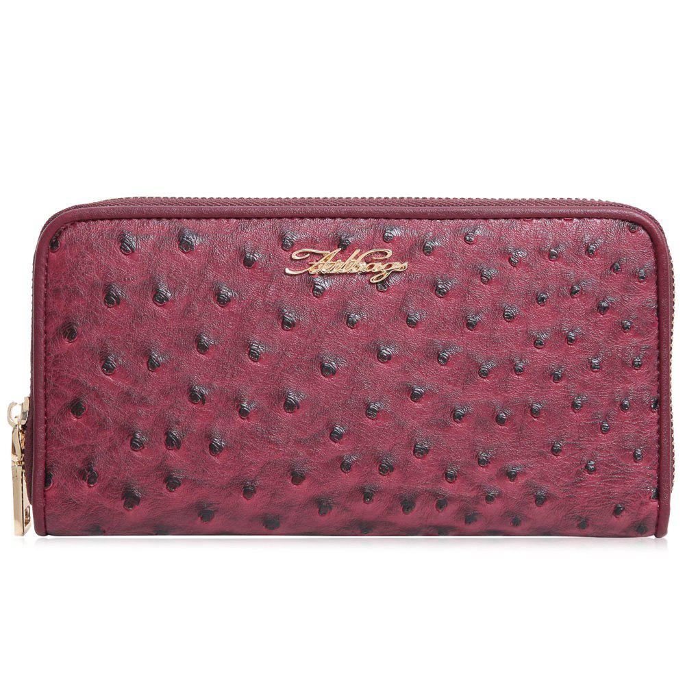 Faux Leather Zipper Around Wallet - Rouge HORIZONTAL