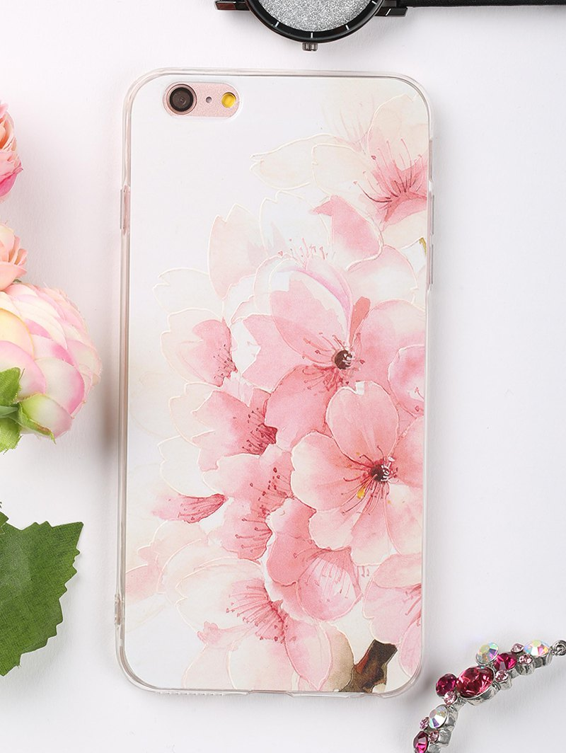 Peach Flowers Pattern Soft Phone Case For Iphone - LIGHT PINK FOR IPHONE 6 PLUS / 6S PLUS