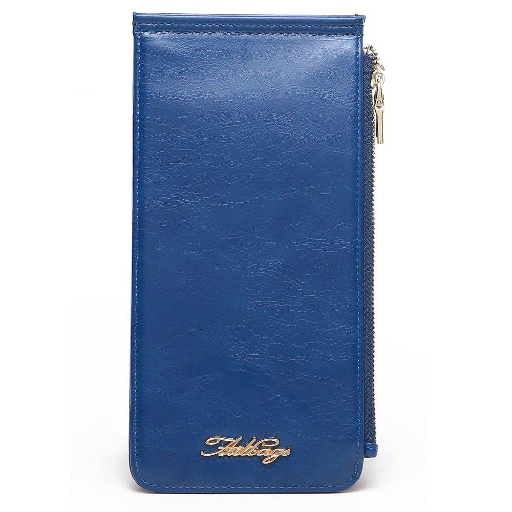 Faux Leather Zip Wallet - BLUE VERTICAL
