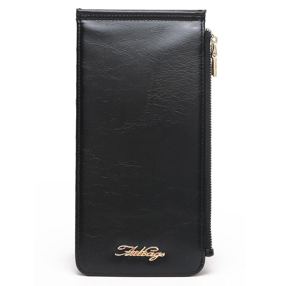 Faux Leather Zip Wallet - Noir VERTICAL