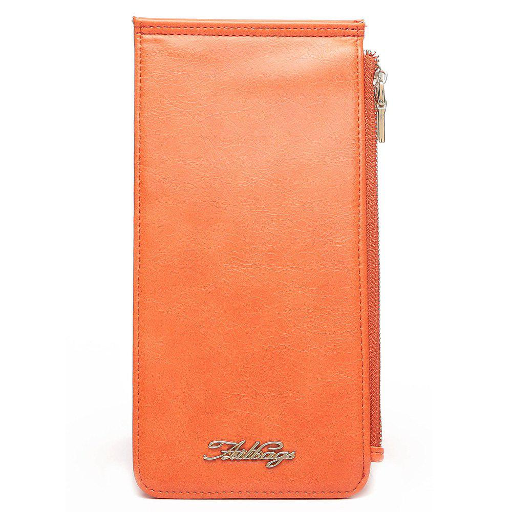 Faux Leather Zip Wallet - ORANGE VERTICAL